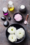 Spa and wellness massage setting Still life with essential oil, salt and stones Copy space Top view Royalty Free Stock Photo