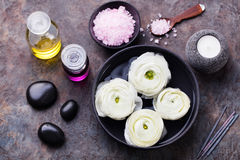 Spa and wellness massage setting Still life with essential oil, salt and stones Copy space Top view Stock Photos