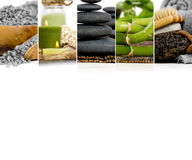 Spa Wellness Mix. Photo of abstract mix stripes lava stones, candles and salt; green and gray colors; spa and wellness concept; white space for text royalty free stock image