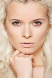 Spa & wellness. Model with clean skin & blond hair royalty free stock photos
