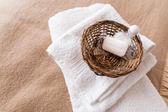 Spa and wellness objects. In basket on bed Royalty Free Stock Photography
