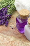 Spa wellness products of lavender Royalty Free Stock Image
