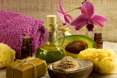 Spa. Wellness products -orchid ,stones, towel, bowl of  salt Stock Images