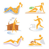 Spa_wellness_sauna_icons. Set of wellness, sauna, spa, massage icons  Vector illustration Stock Image