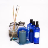 Spa Wellness setting. Creams, candle and bath salts Stock Images