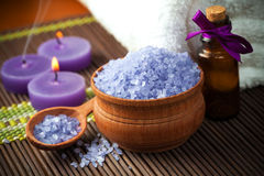 Spa and wellness setting with candles Royalty Free Stock Photography