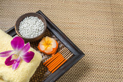Spa and wellness setting with flowers Stock Photography