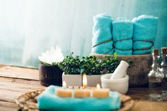 Spa setting in blue Royalty Free Stock Photo