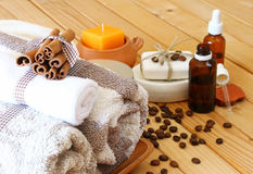 Spa and wellness setting with natural bath salt, c Royalty Free Stock Photo