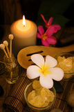 Spa and wellness setting with natural salt stock photo