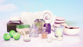 Spa and wellness setting with natural soap, candle and towel. Stock Photos
