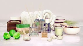Spa and wellness setting with natural soap, candle and towel on Royalty Free Stock Photos