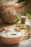 Spa setting with bath salt and soap Royalty Free Stock Image