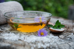 Spa and wellness setting with sea salt, oil essence, flowers and Royalty Free Stock Images