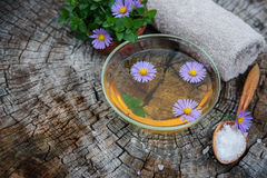 Spa and wellness setting with sea salt, oil essence, flowers Royalty Free Stock Images