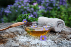 Spa and wellness setting with sea salt, oil essence, flowers and Stock Images