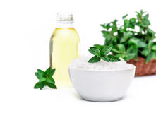 Spa and wellness setting  sea salt, oil essence and mint isolate Stock Images