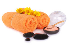 Spa and wellness setting with sea salt, stones, chamomiles flowe. Rs and towels isolated Royalty Free Stock Photos