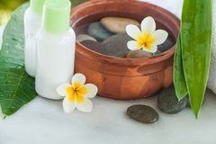 Spa or wellness setting with tropical flowers stock image