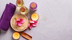 Spa or wellness setting in yellow and violet colors Stock Photos