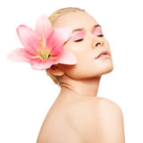Spa, wellness, skin care. Beauty with pink make-up Stock Photos