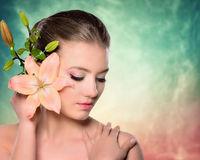 Spa, wellness, skin care. Beauty with pink make-up Royalty Free Stock Photo