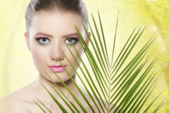 Spa, wellness, skin care. Beauty with pink make-up Royalty Free Stock Images