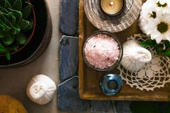 Spa products in natural setting stock photography