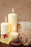 Spa with white candles Stock Images