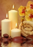 Spa with white candles Royalty Free Stock Images