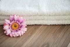 Spa. White Cotton Towels Use In Spa Bathroom. Towel Concept. Photo For Hotels and Massage Parlors. Purity and Softness stock images