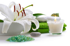 Spa with white lily Stock Image