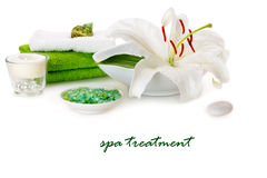 Spa with white lily Stock Photos