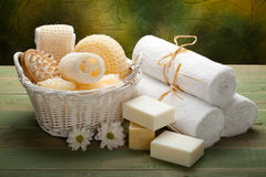 Spa - white towels, soap and massage accessory Royalty Free Stock Images