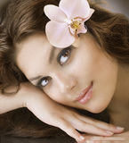 Spa Woman. Beautiful Young Spa Woman with Healthy Skin. Close-up Image Stock Photo