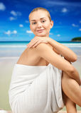 Spa woman on the beach Stock Image