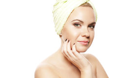 Spa Woman. Beautiful Girl After Bath. Spa Woman Concept. Beautiful Girl After Bath Touching Her Face. Perfect Skin. Skincare. Young Skin. Copy-space. Close up royalty free stock image