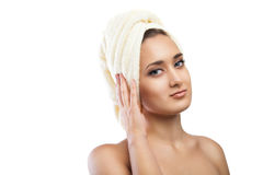 Spa Woman. Beautiful Girl After Bath. Isolated Royalty Free Stock Photography