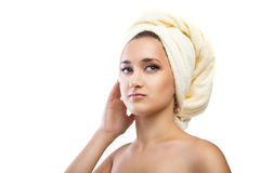 Spa Woman. Beautiful Girl After Bath. Isolated Stock Photo