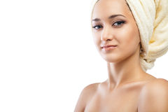 Spa Woman. Beautiful Girl After Bath. Isolated Royalty Free Stock Photos
