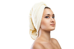 Spa Woman. Beautiful Girl After Bath. Isolated Stock Photography