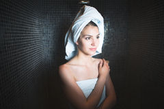 Spa woman.Beautiful girl after bath in jacuzzi spa,relaxing after massage,wrapped in towels.Skincare. Stock Image