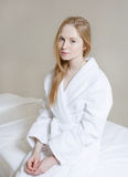 Spa Woman. Beautiful Girl After Bath Perfect Skin. Skincare. Young Skin Stock Image
