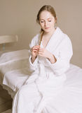 Spa Woman. Beautiful Girl After Bath Perfect Skin. Skincare. Young Skin Royalty Free Stock Photos