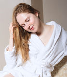Spa Woman. Beautiful Girl After Bath Perfect Skin. Skincare. Young Skin Royalty Free Stock Image