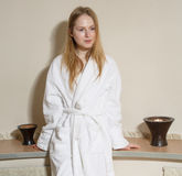 Spa Woman. Beautiful Girl After Bath . Perfect Skin. Skincare. Young Skin Stock Images