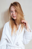 Spa Woman. Beautiful Girl After Bath . Perfect Skin. Skincare. Young Skin Royalty Free Stock Images