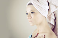 Spa Woman. Beautiful Girl After Bath Touching Her Face. Perfect Skin. Skincare. Young Skin Royalty Free Stock Image