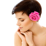 Spa Woman. Beautiful Girl After Spa Treatment Touching Her Face. Royalty Free Stock Photos
