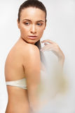 Spa Woman. Beautiful Girl Touching Her Body. Perfect Skin. Body Royalty Free Stock Photography